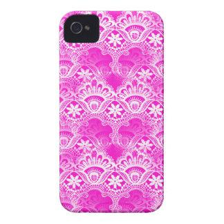 Girly Hot Pink Fuchsia White Lace Damask Case-Mate iPhone 4 Case