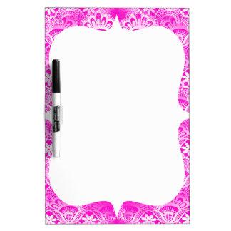 Girly Hot Pink Fuchsia White Lace Damask Dry Erase Board