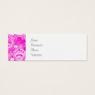 Girly Hot Pink Fuchsia White Lace Damask Mini Business Card