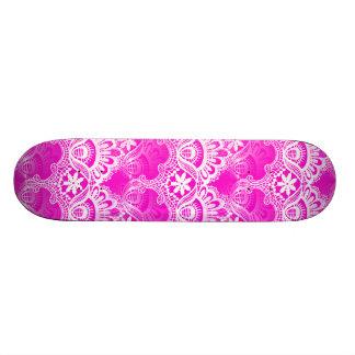 Girly Hot Pink Fuchsia White Lace Damask Skate Board Decks