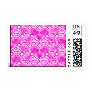 Girly Hot Pink Fuchsia White Lace Damask Stamp