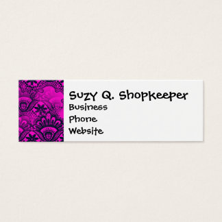 Girly Hot Pink Fuschia Navy Blue Damask Lace Mini Business Card