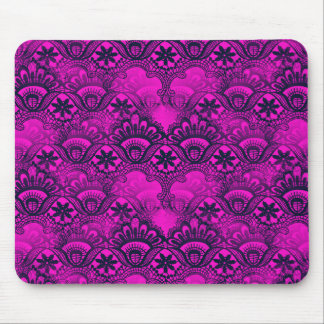 Girly Hot Pink Fuschia Navy Blue Damask Lace Mouse Pad