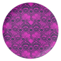 Girly Hot Pink Fuschia Navy Blue Damask Lace Plate