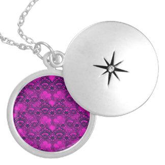 Girly Hot Pink Fuschia Navy Blue Damask Lace Round Locket Necklace