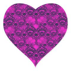 Girly Hot Pink Fuschia Navy Blue Damask Lace Heart Sticker
