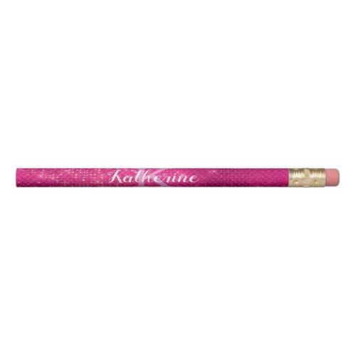 Girly Hot Pink Glam Diamond Sparkle Monogram Name Pencil