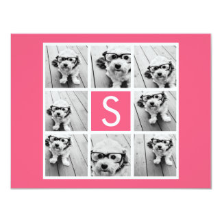 Girly Hot Pink Instagram Photo Collage Monogram Card