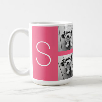 Girly Hot Pink Instagram Photo Collage Monogram Coffee Mug