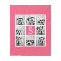 Girly Hot Pink Instagram Photo Collage Monogram Fleece Blanket