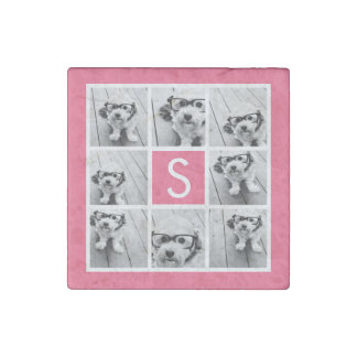 Girly Hot Pink Instagram Photo Collage Monogram Stone Magnet