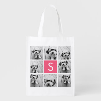 Girly Hot Pink Instagram Photo Collage Monogram Reusable Grocery Bag