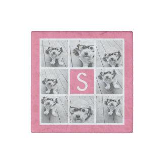Girly Hot Pink Instagram Photo Collage Monogram Stone Magnet