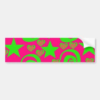 Girly Hot Pink Lime Green Stars Hearts Swirls Gift Bumper Sticker