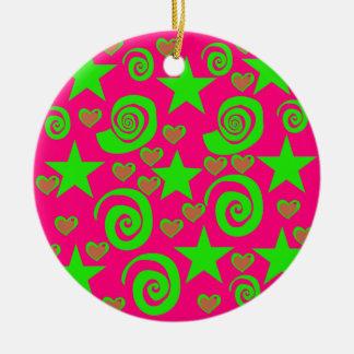 Girly Hot Pink Lime Green Stars Hearts Swirls Gift Ceramic Ornament
