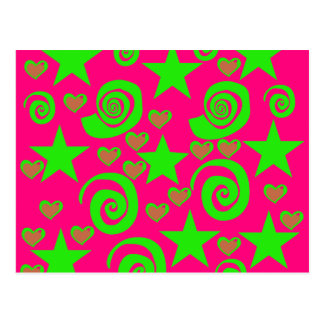 Girly Hot Pink Lime Green Stars Hearts Swirls Gift Postcard