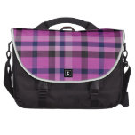 Girly Hot Pink Plaid Tartan Or Twill - Bags For Laptop