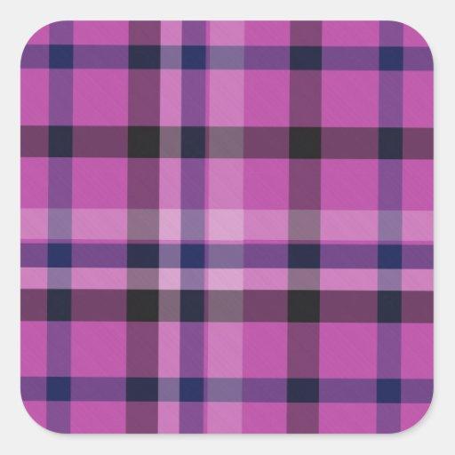 Girly Hot Pink Plaid Tartan Or Twill - Sticker