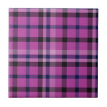 Girly Hot Pink Plaid Tartan Or Twill - Ceramic Tiles