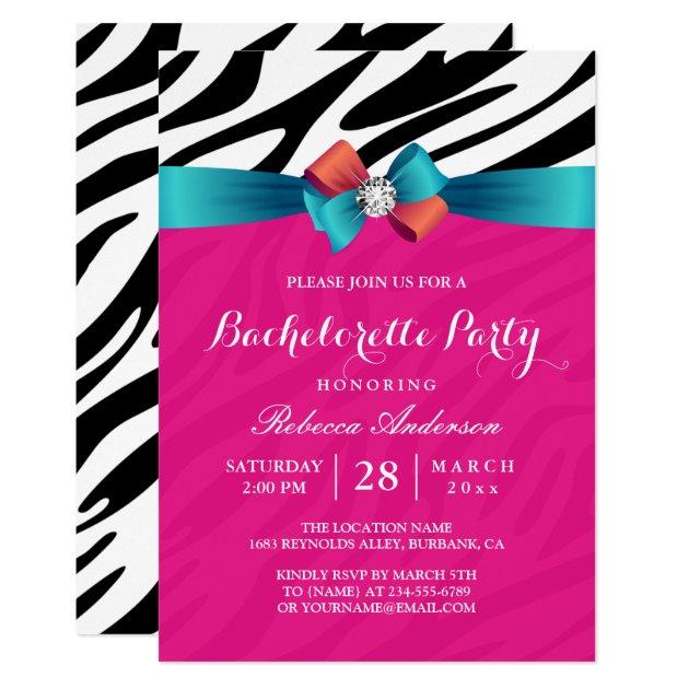 Girly Hot Pink Zebra Print Bachelorette Party Card