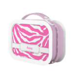 Girly Hot Pink Zebra Stripes Personalized Name Lunchboxes