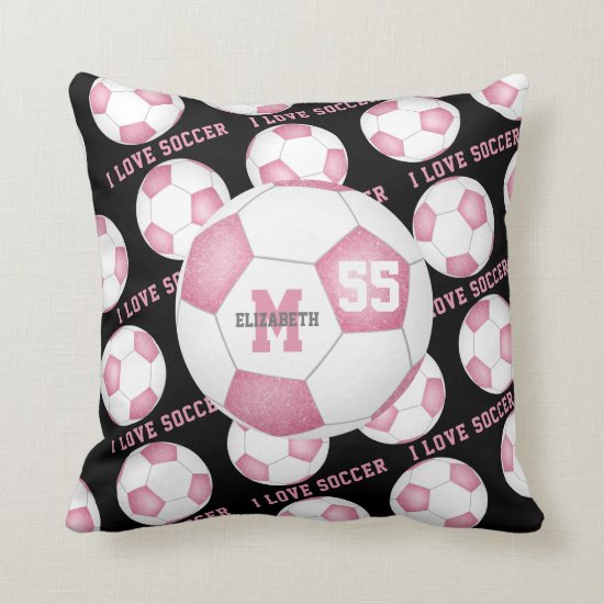 I love soccer text pink white black Throw Pillow