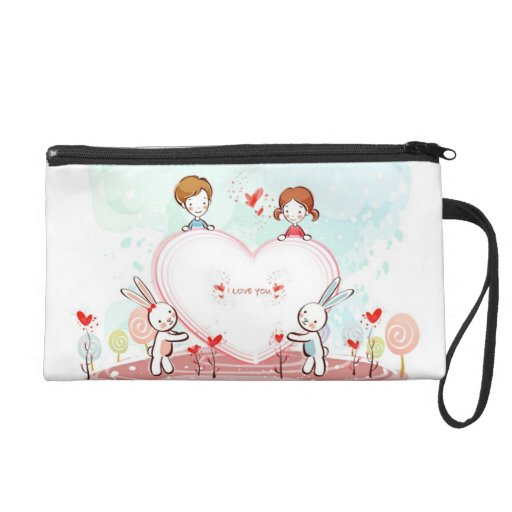 Girly I Love You Bunnies and Hearts Wristlets
