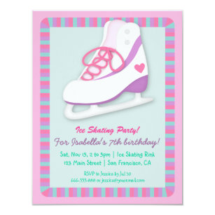 Ice Skating Birthday Party Invitations Announcements Zazzle