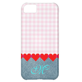 Girly Initial Monogram Hearts Denim Pattern Pink iPhone 5C Cover