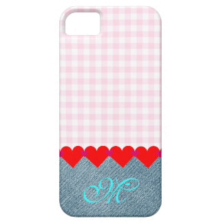 Girly Initial Monogram Hearts Denim Pattern Pink iPhone SE/5/5s Case