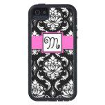 GIRLY INITIAL, PINK, BLACK VINTAGE DAMASK PATTERN iPhone 5 CASE