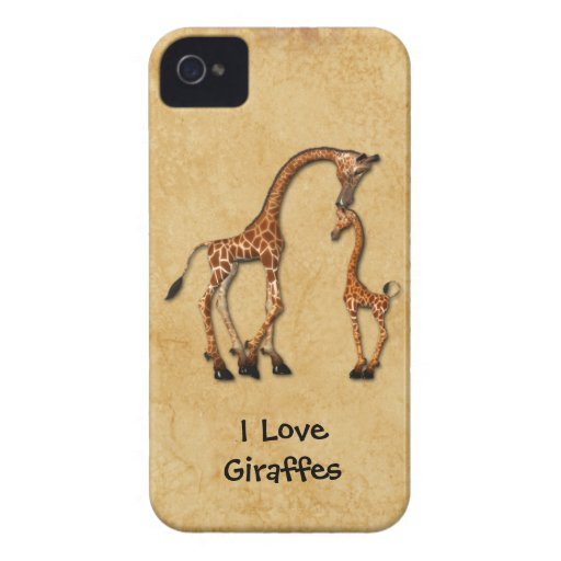 Girly iPhone4 Mother Baby Giraffes Case-Mate iPhone 4 Case