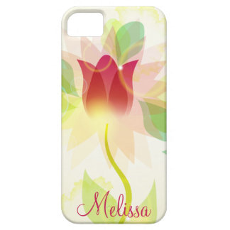 Girly iPhone5 Pink Abstract Watercolor Tulips iPhone SE/5/5s Case