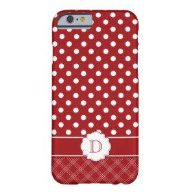 Girly iPhone 6 case Red White Polka Dots Monogram