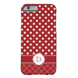 Girly iPhone 6 case Red White Polka Dots Monogram iPhone 6 Case