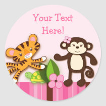Girly Jungle Animal Favor Stickers Envelope Seals