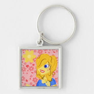 Girly Keychain with Hearts and Flowers