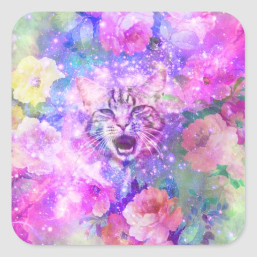 Girly Kitten Cat Romantic Floral Pink Nebula Space Square Stickers