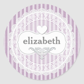 Girly Lace Gingham Pattern with Heart A06 PURPLE Classic Round Sticker