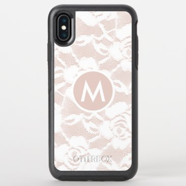 Girly Lace over Blush Monogrammed Otterbox  Case