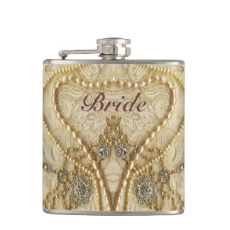 Girly Lace Purls And Bling Brides Flack Flask