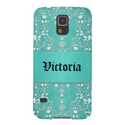 Girly Lacy Damask in Teal and White Galaxy Nexus Covers