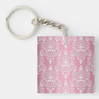 Girly Lacy Damask Pink and White Keychain