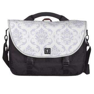 Girly Lavendar Vintage Damask Pattern Laptop Messenger Bag
