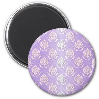 Girly Lavender and White Damask Pattern 2 Inch Round Magnet
