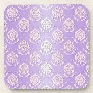 Girly Lavender and White Damask Pattern Drink Coaster