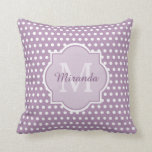 "Girly Lavender Purple Polka Dots Monogram and Name Throw Pillow<br><div class=""desc"">Be cute and girly with this chic purple and white polka dot pattern throw pillow with a stylish framed monogram. Add a personalized touch to this pretty design by adding your name and monogrammed initial.</div>"