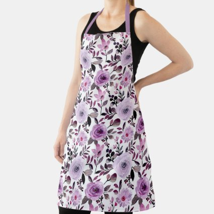 Girly Lavender Purple Roses Watercolor Floral Apron