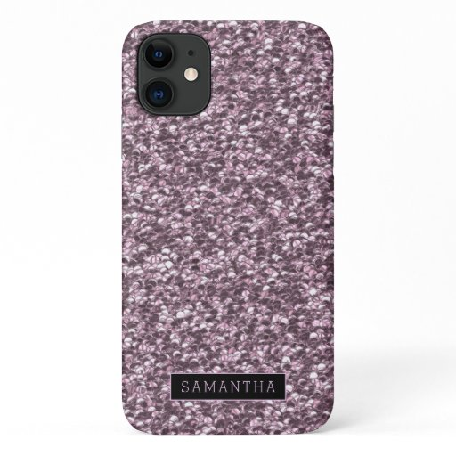 Girly Lavender Sparkle Sequins Monogram iPhone 11 Case