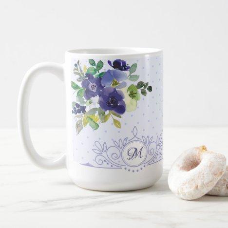 Girly Lavender Watercolor Floral Monogram Coffee Mug